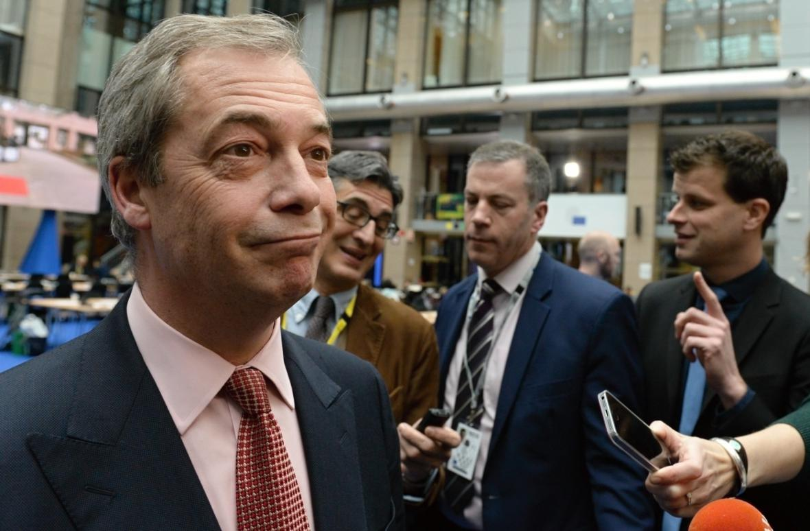 Nigel Farage na summitu EU v Bruselu