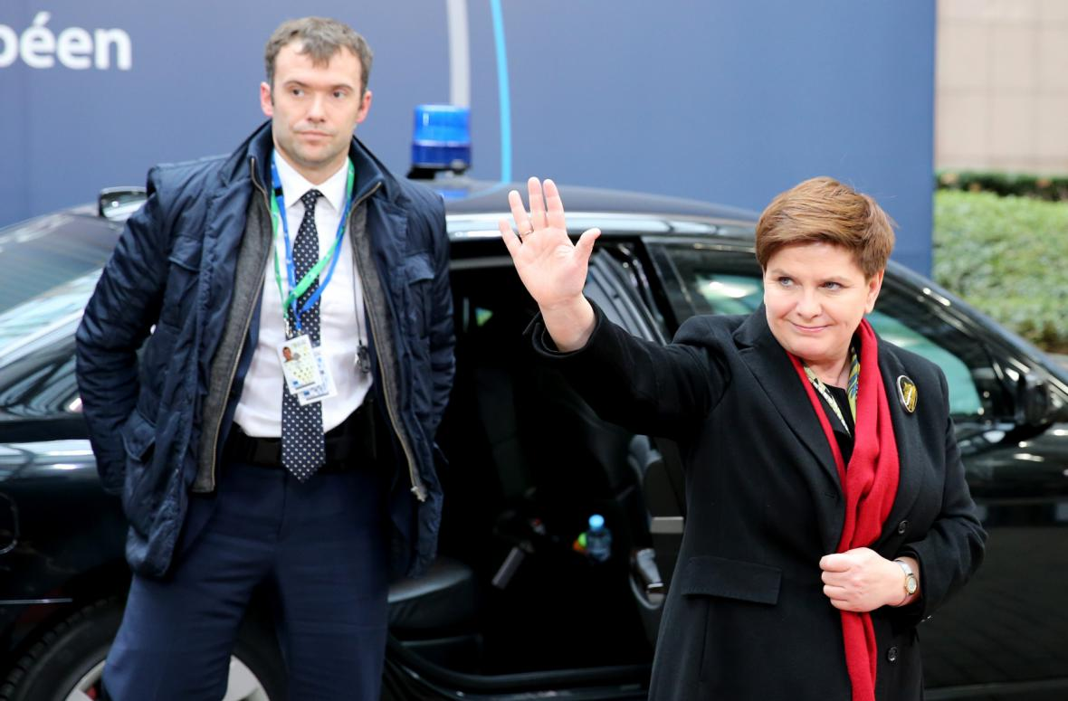 Polská premiérka Beata Szydlová na summitu EU
