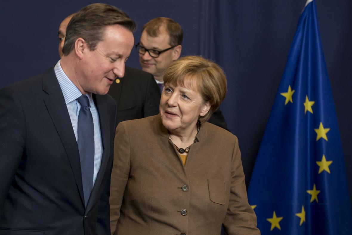 David Cameron s Angelou Merkelovou na summitu v Bruselu