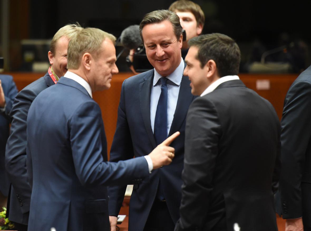 Donald Tusk, David Cameron a Alexis Tsipras