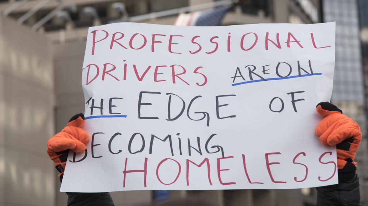 Protesty proti Uberu a Lyftu v americké Filadelfii