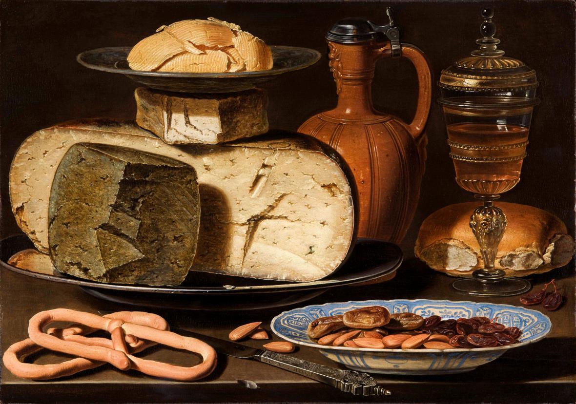 Clara Peeters / Zátiší se sýry, mandlemi a preclíky