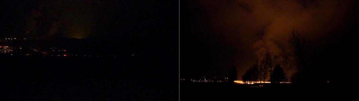 Srovnání krajiny bez (vlevo) a s rozsvícenými skleníky (vpravo)