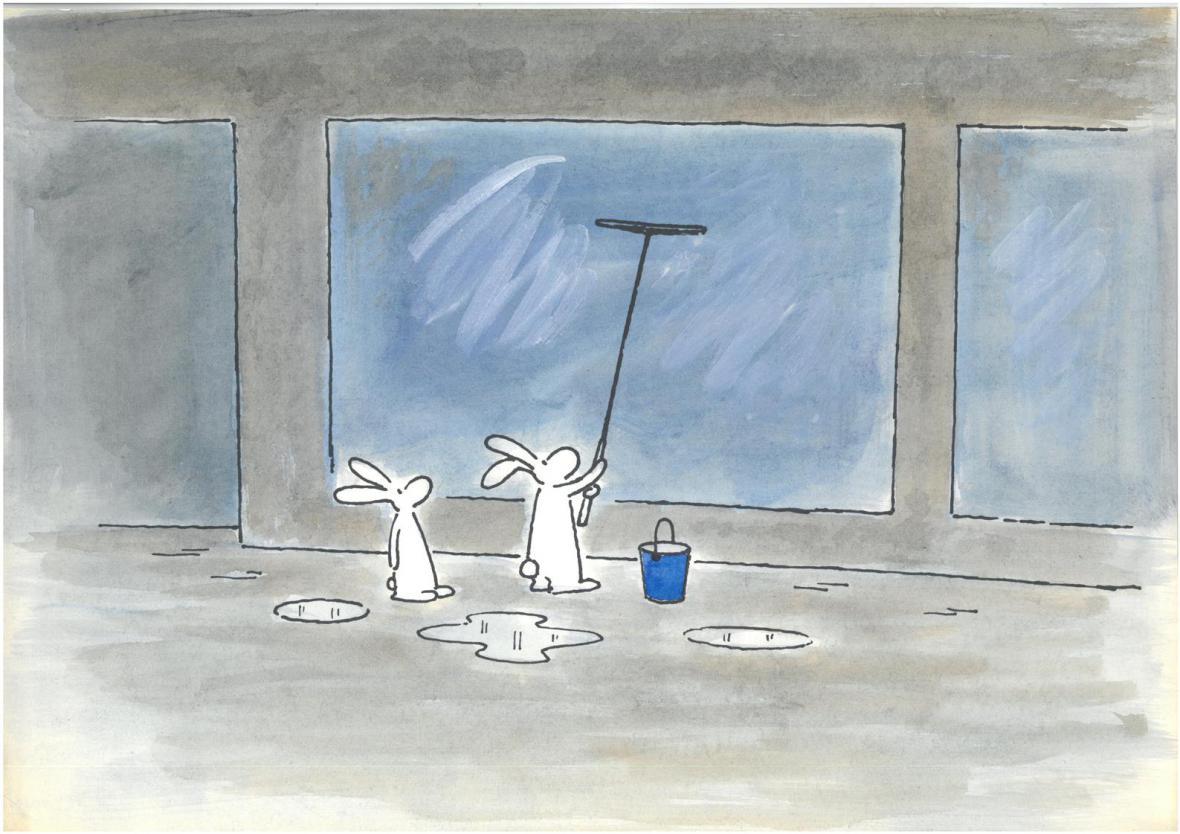 Včera a dnes / kolorovaná kresba Boba a Bobka