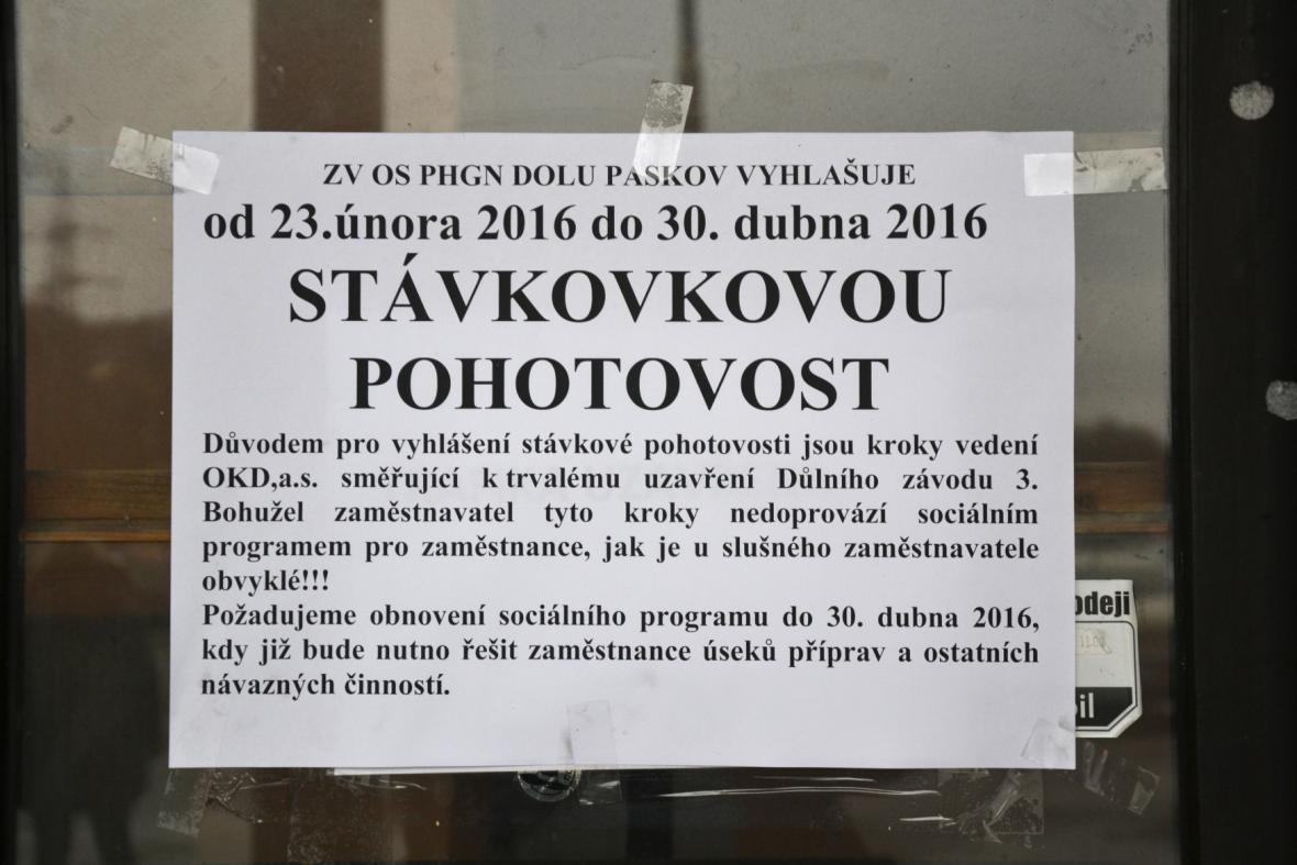 Důl Paskov je ve stávkové pohotovosti