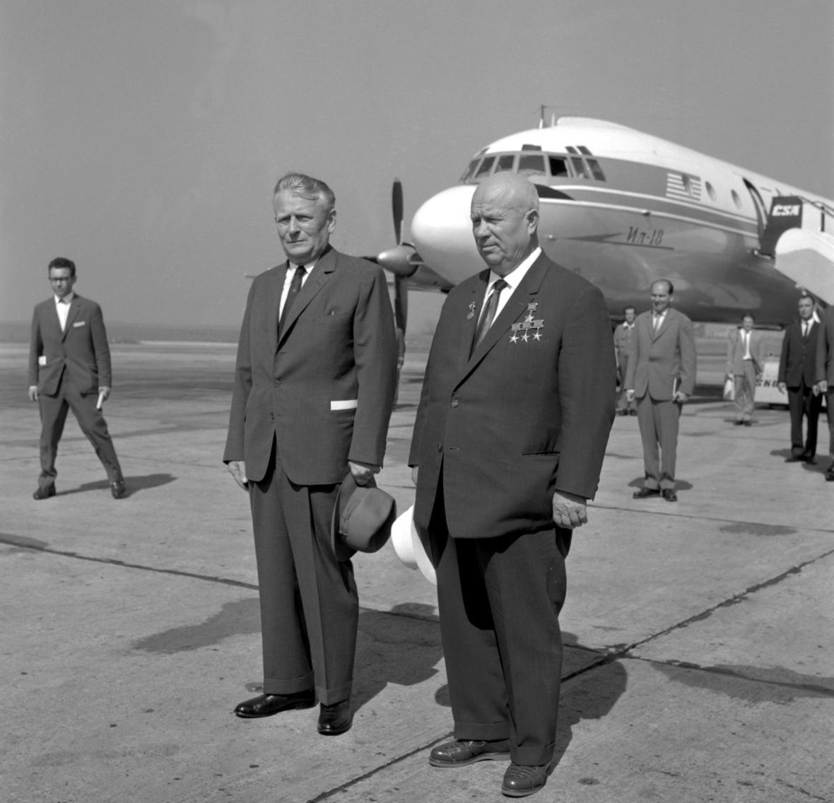 Nikita Chruščov s Antonínem Novotným v Praze