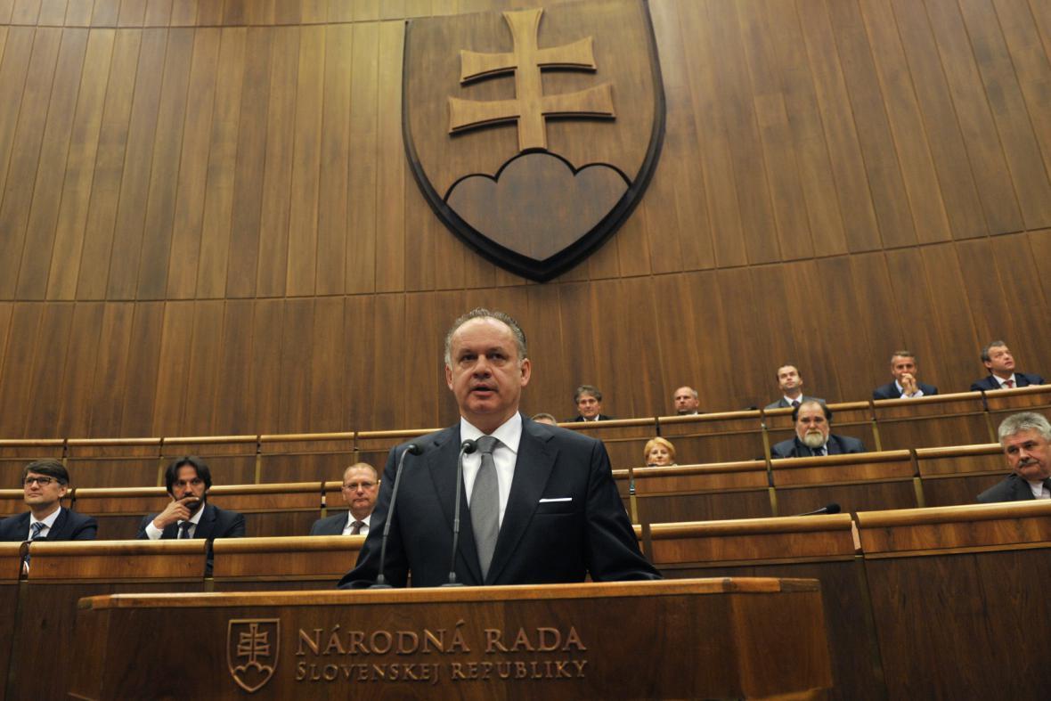 Andrej Kiska ve slovenském parlamentu