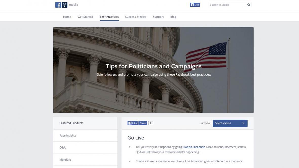 Tipy Facebooku pro politiky