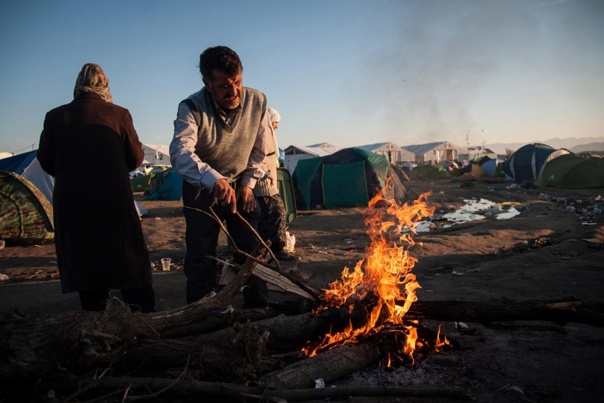 Uprchlický tábor na řecko-makedonské hranici