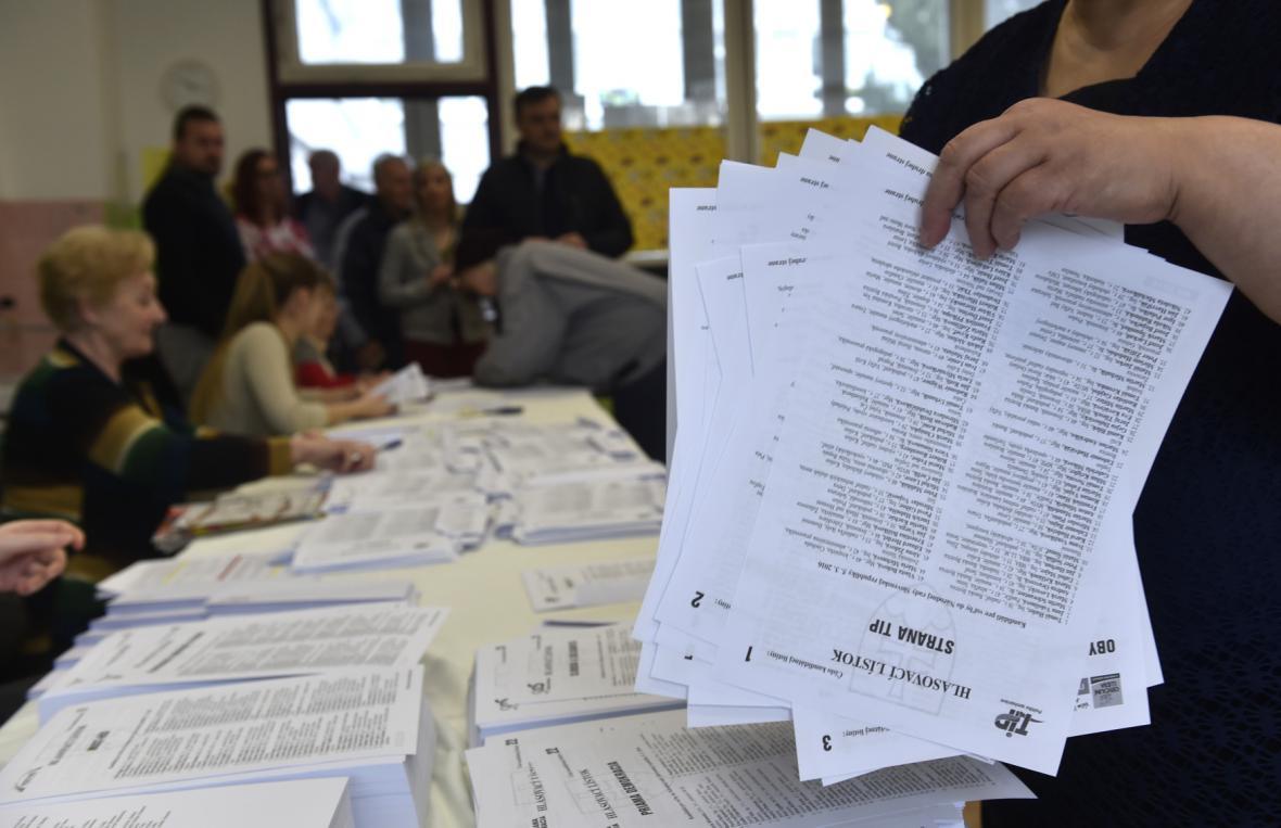 Volební místnost v Trnavě