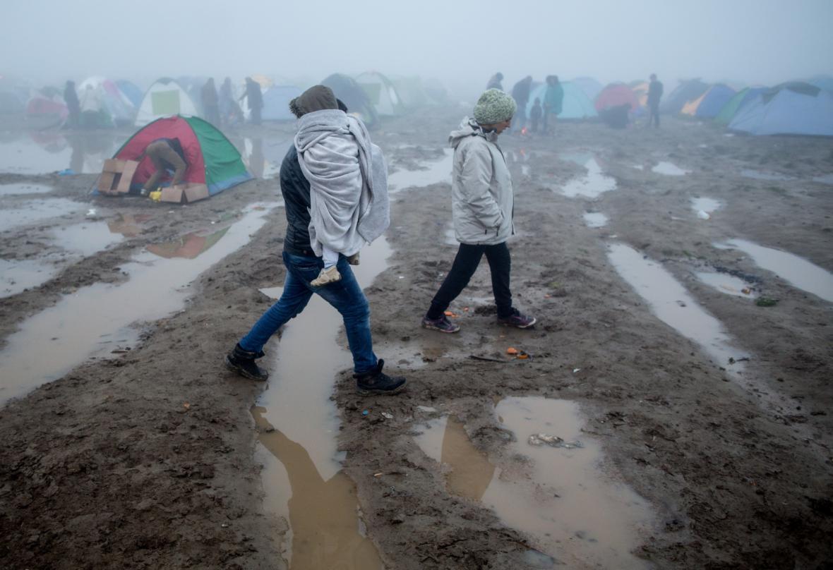 Uprchlický tábor v Idomeni po bouřce