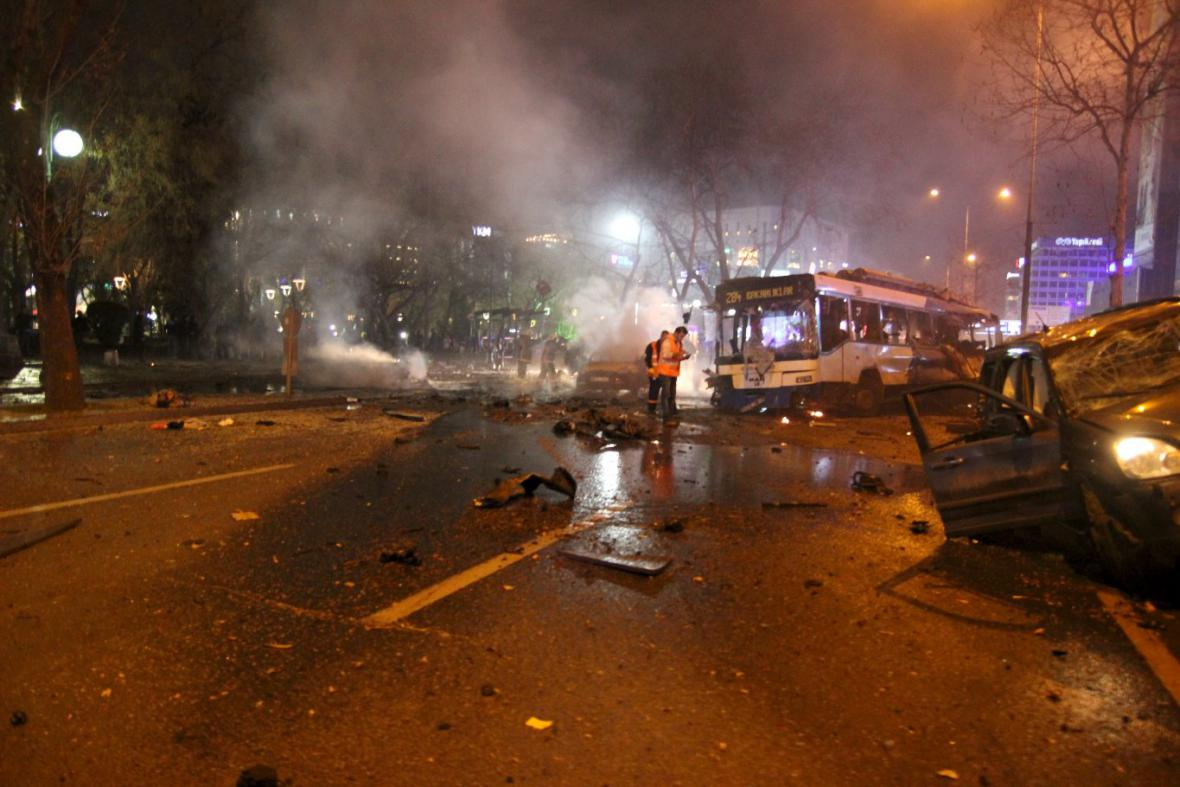 Místo exploze v Ankaře