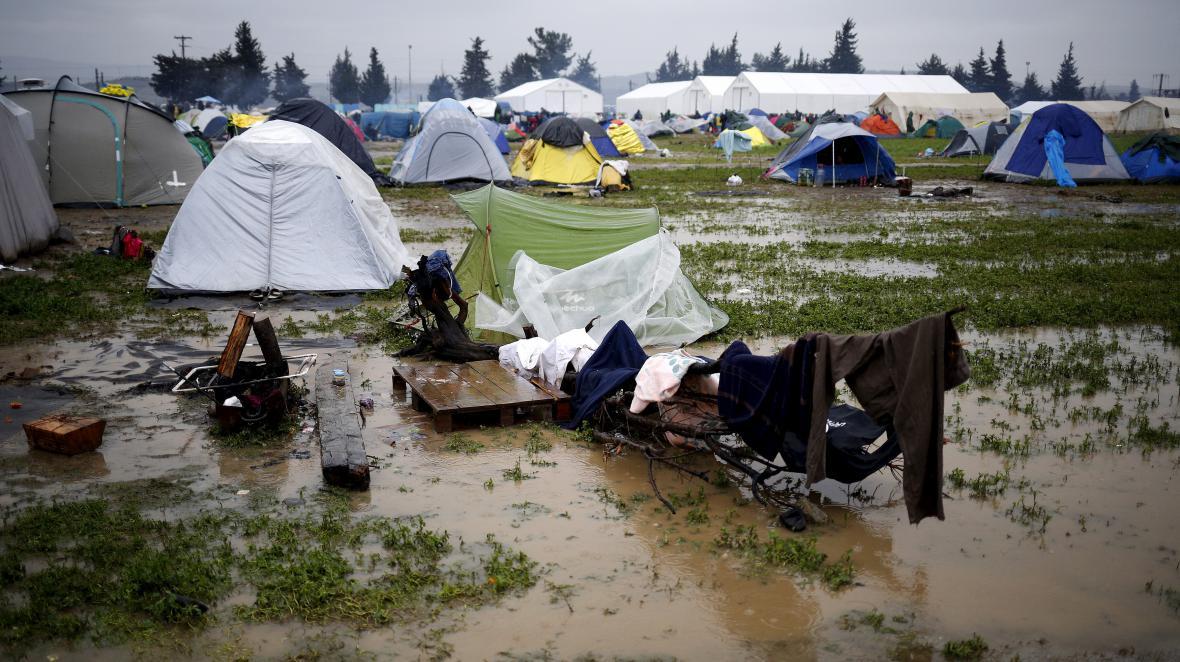 Tábor uprchlíků u obce Idomeni