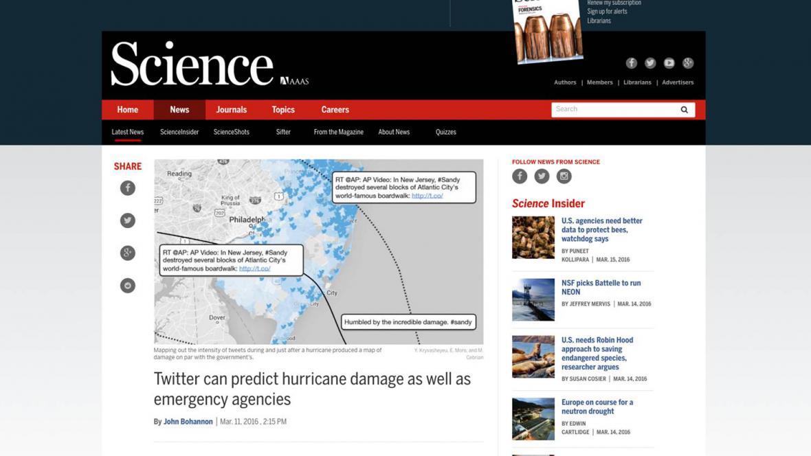 Článek o výzkumu australských vědců o tom, jak může Twitter pomoci při katastrofách