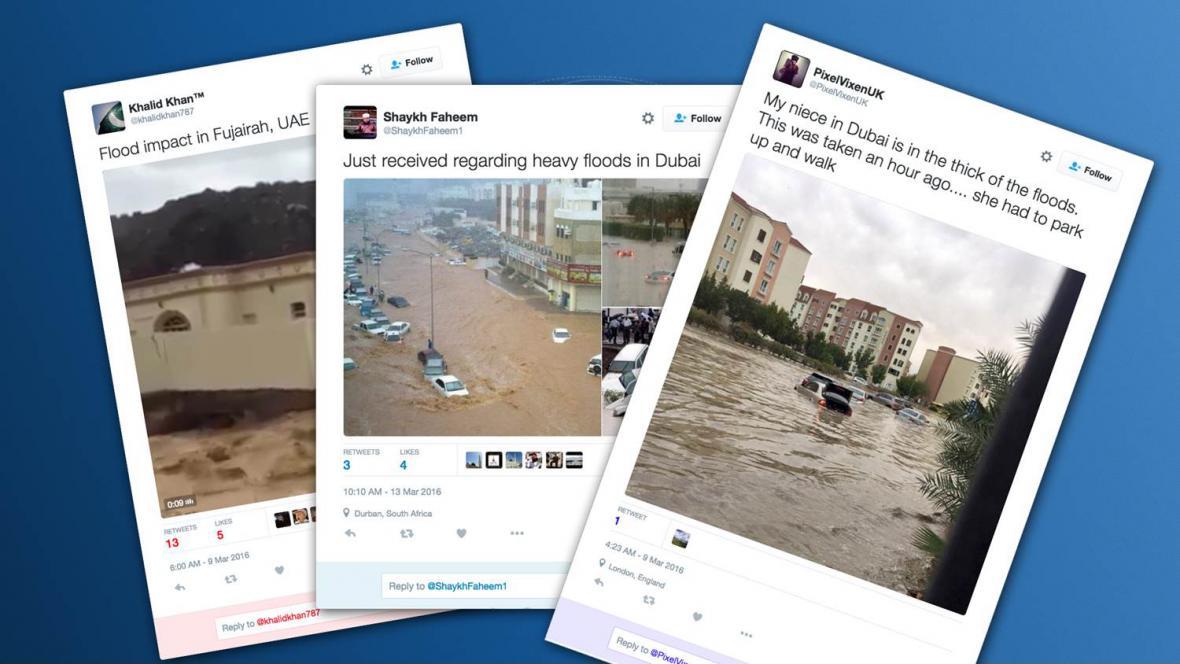Tweety o povodních v Dubaji