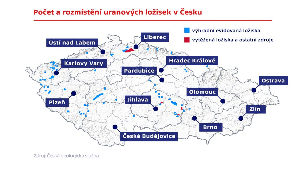 Počet a rozmístění uranovýcáh ložisek v Česku