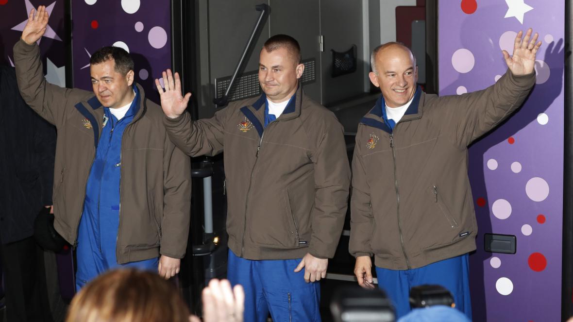 Posádka Sojuzu - Alexej  Ovčinin, Oleg Skripočka a Jeff Williams