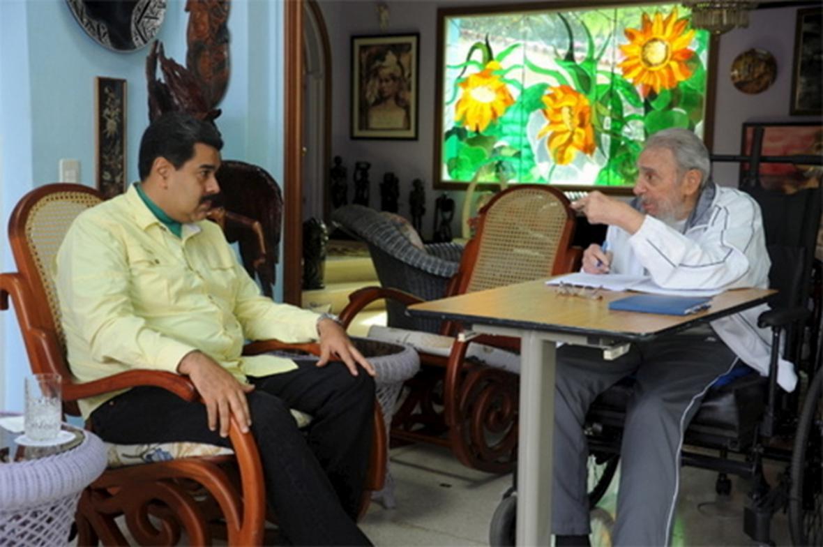 Setkání Fidela Castra s Nicólasem Madurem