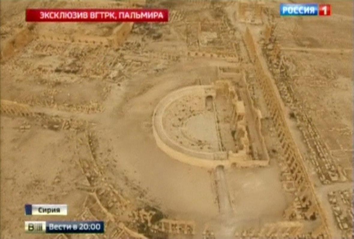 Letecké záběry divadla v Palmýře