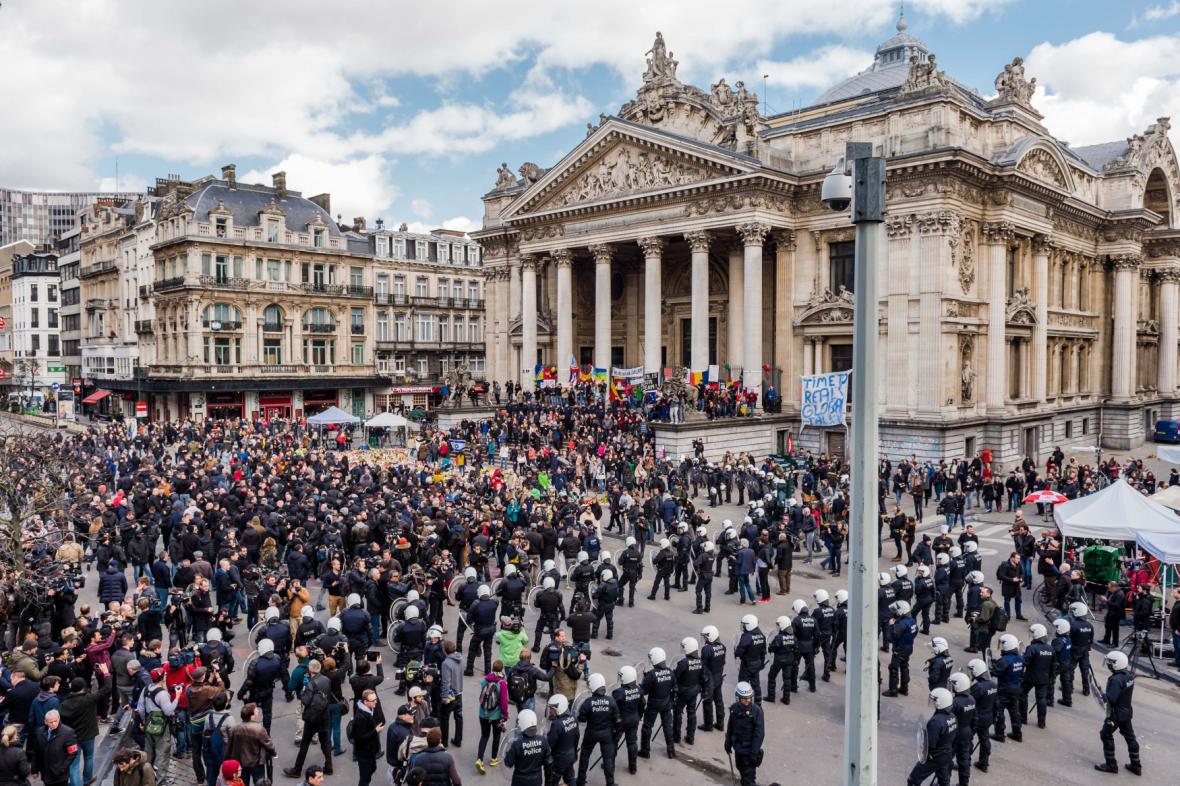Demonstrace proti terorismu v belgické metropoli