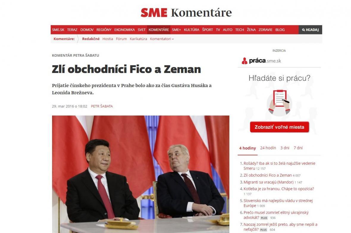 Sme komentuje návštěvu čínského prezidenta v ČR