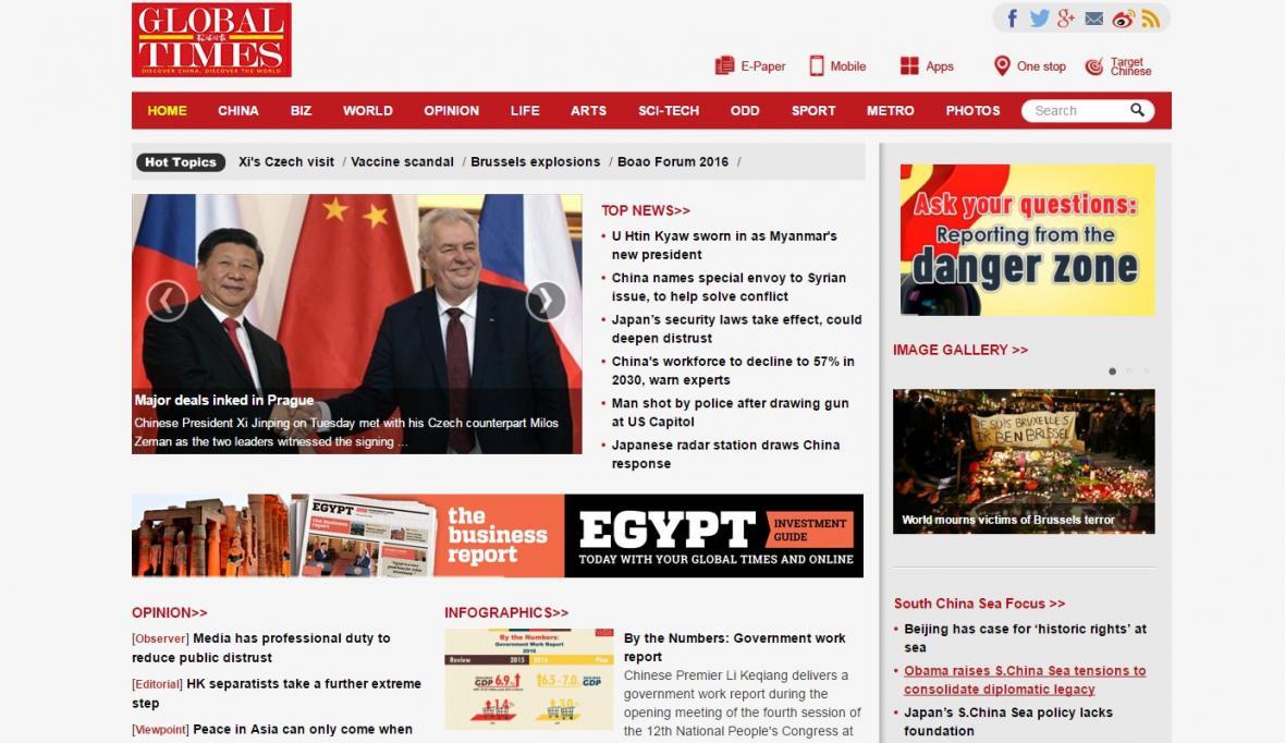 Global Times o setkání čínského prezidenta se Zemanem