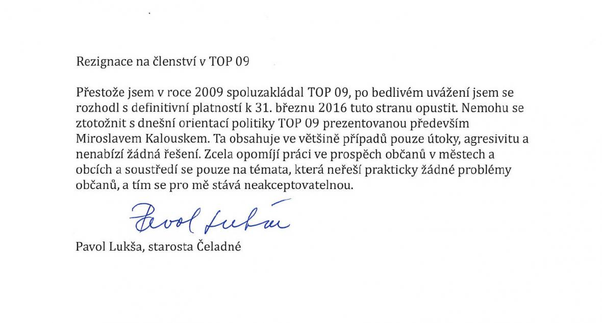 Rezignační dopis Pavola Lukši