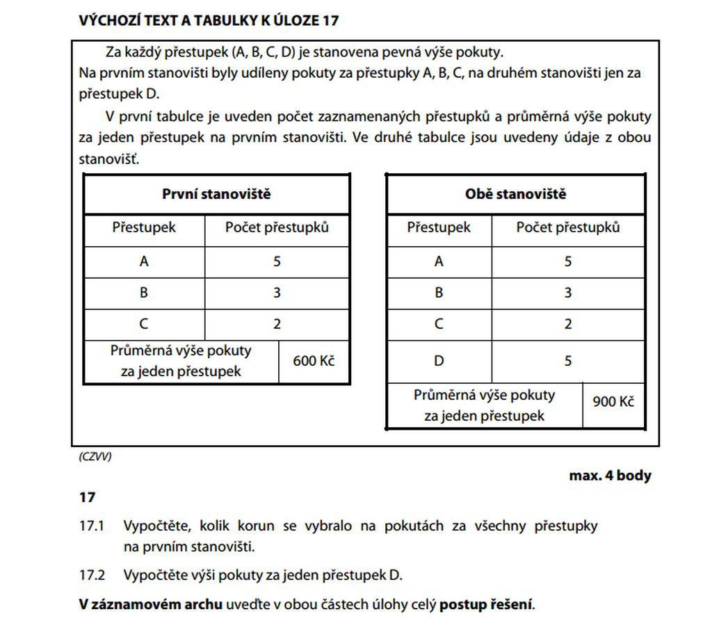 Úloha 17 z matematiky