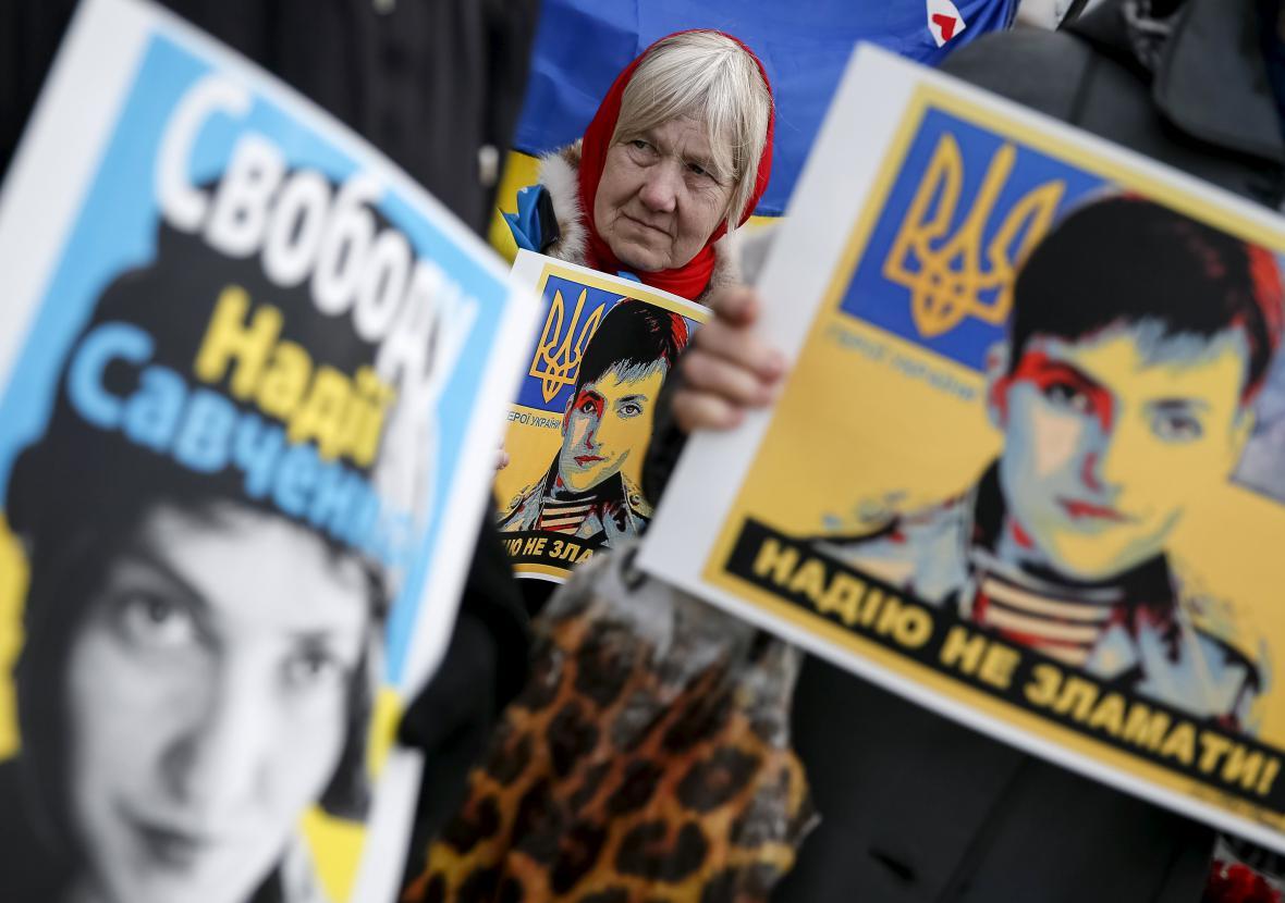 Protest za propuštění Savčenkové v Kyjevě