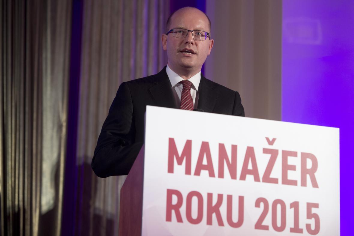 Premiér Bohuslav Sobotka na předávání cen Manažer roku 2015