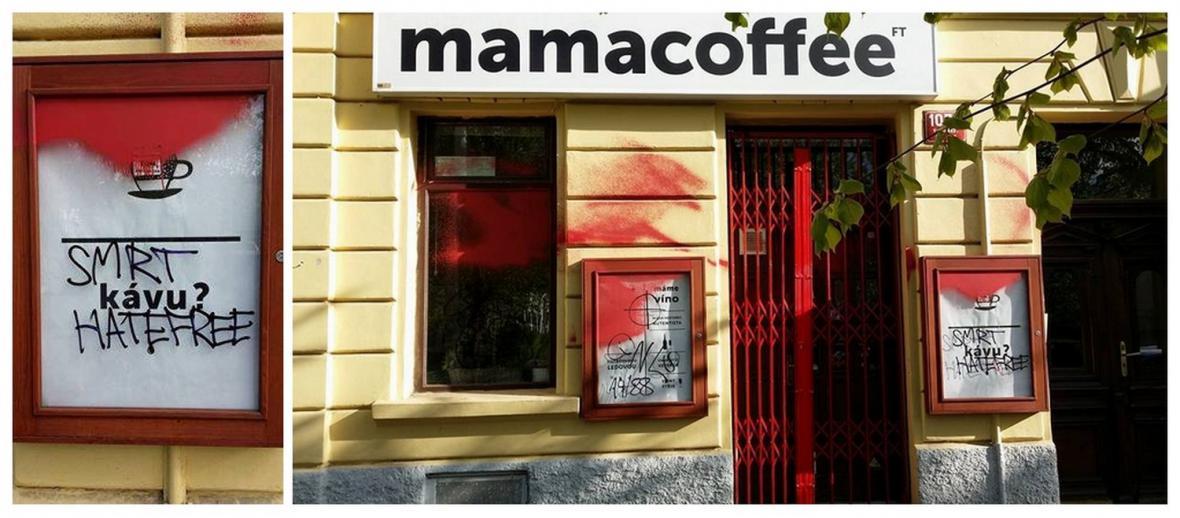 Posprejovaná kavárna Mamacoffee