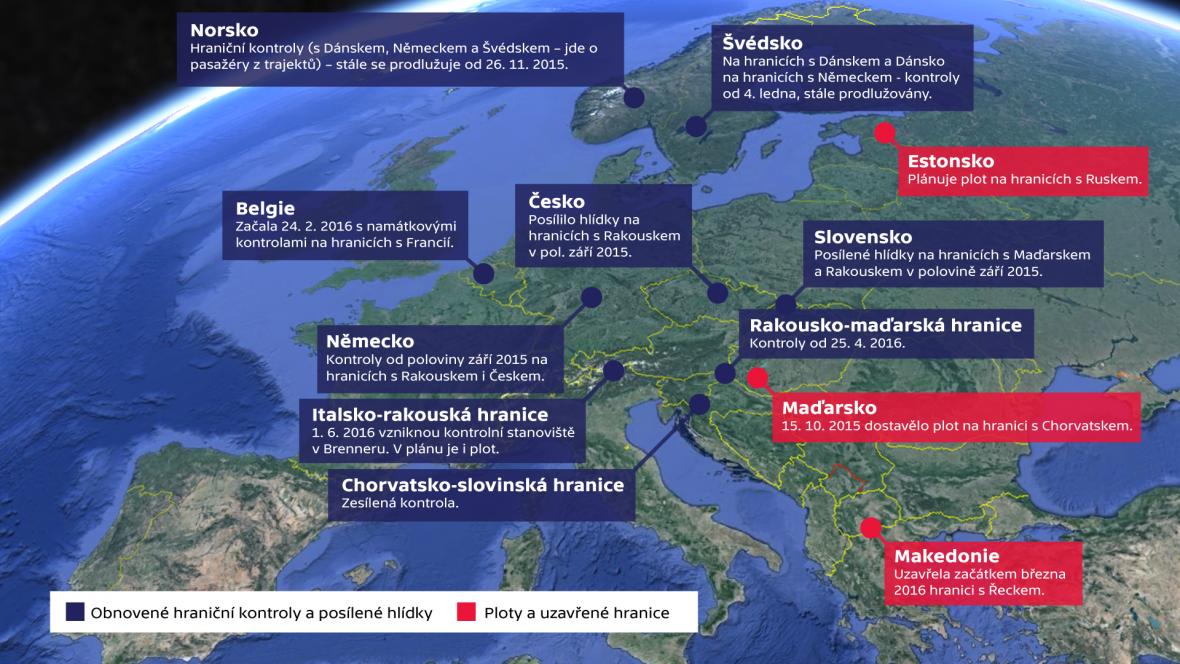 Hraniční kontroly a uzavřené hranice v Evropě