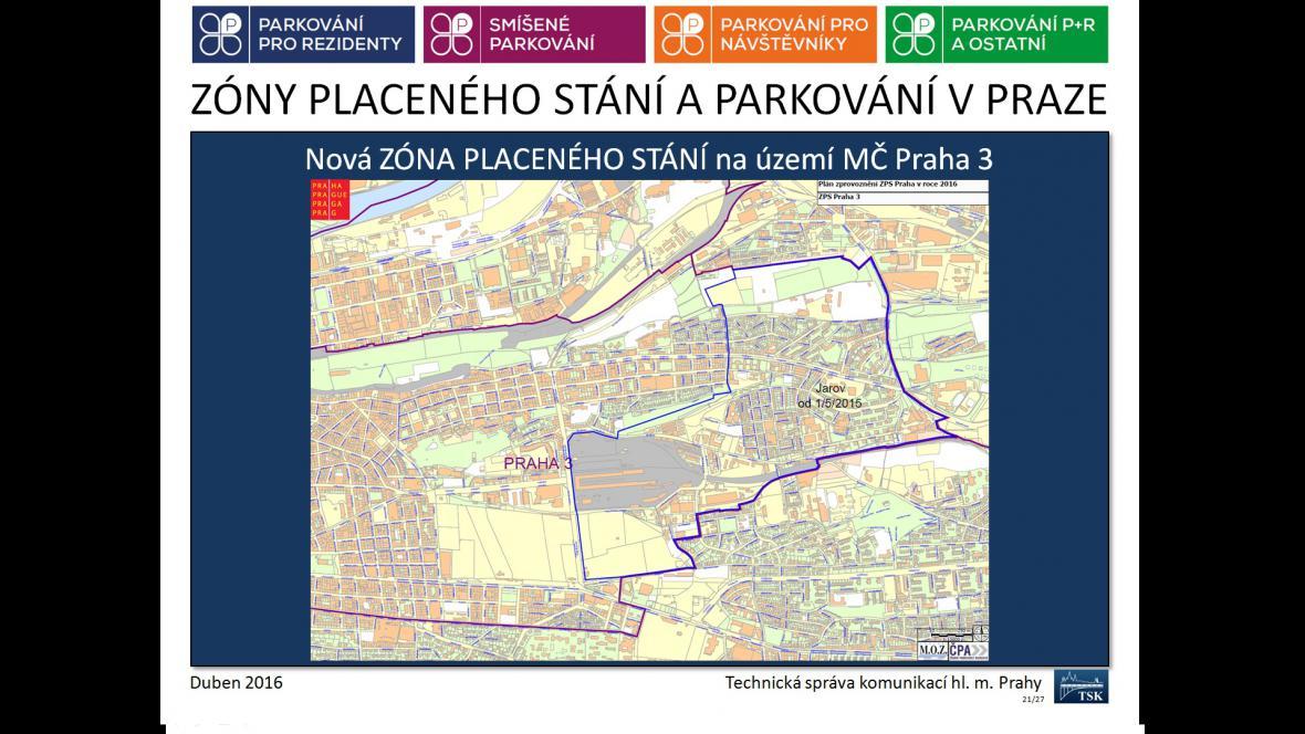 Nová zóna placeného stání v Praze 3