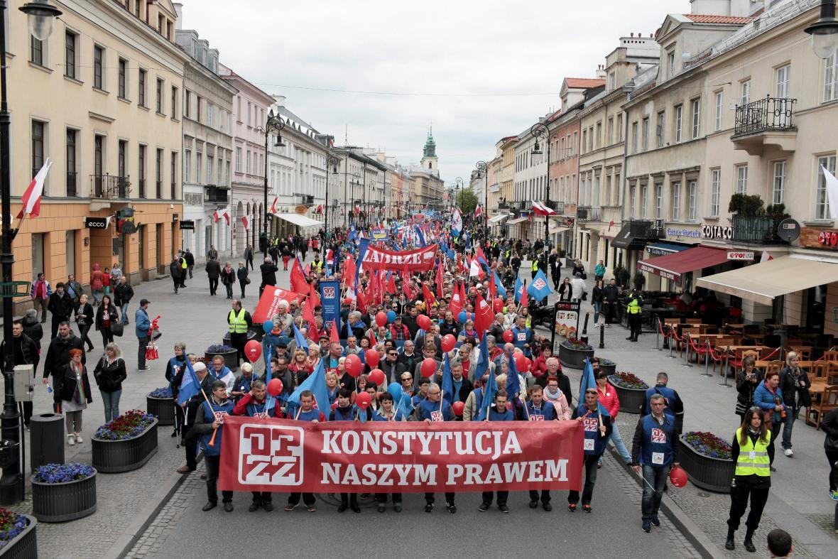 Prvomájový protest v Polsku