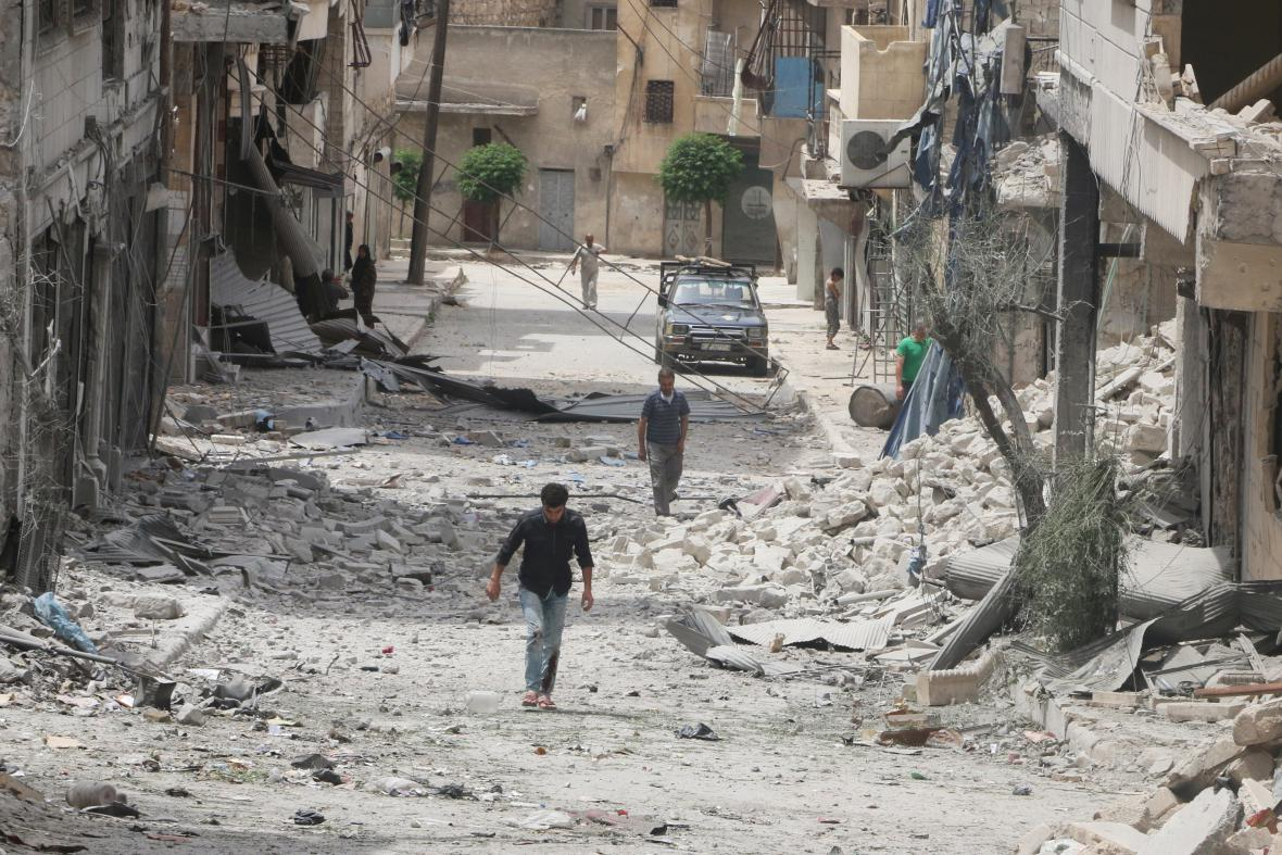 Rozbombardované Aleppo