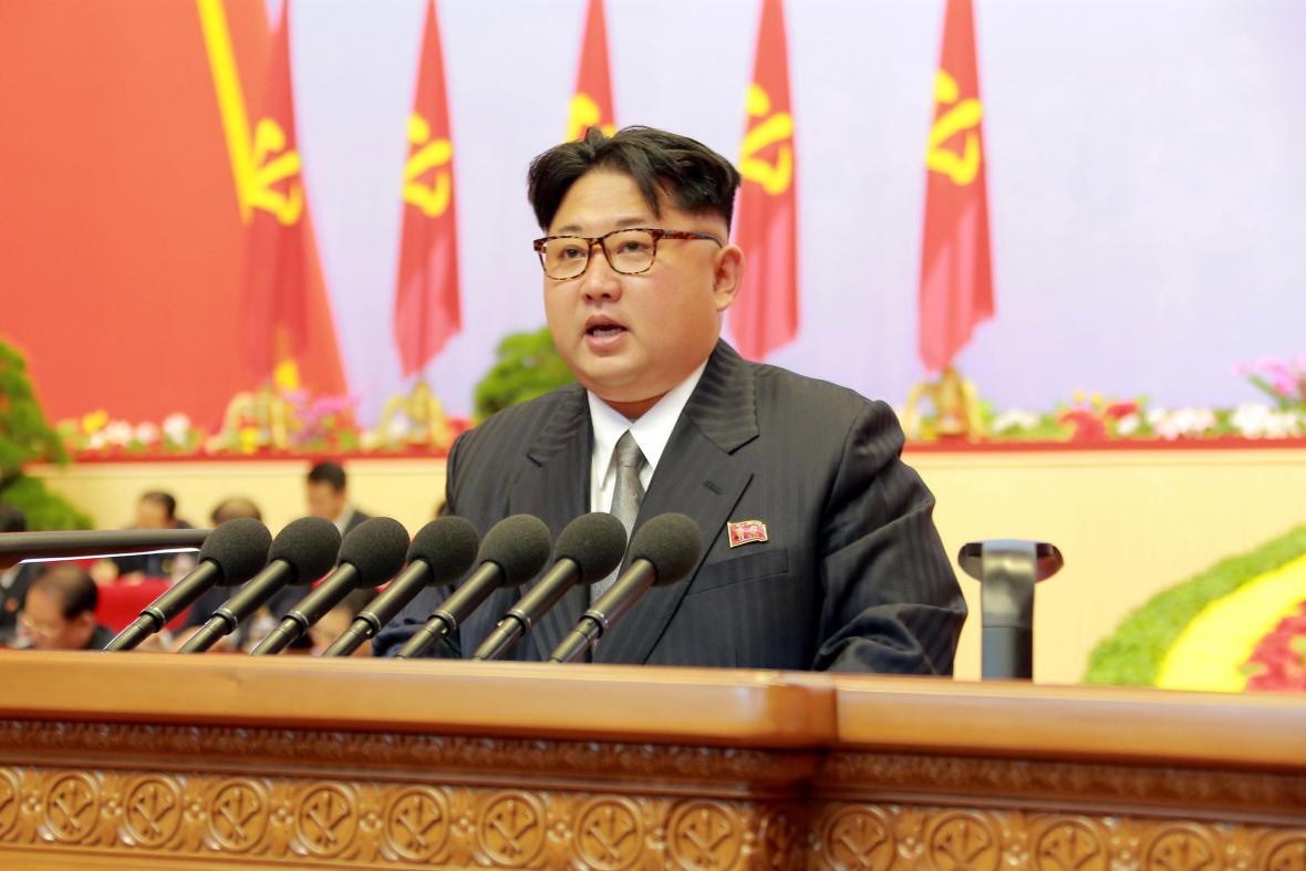 Kim Čong-un během sjezdu