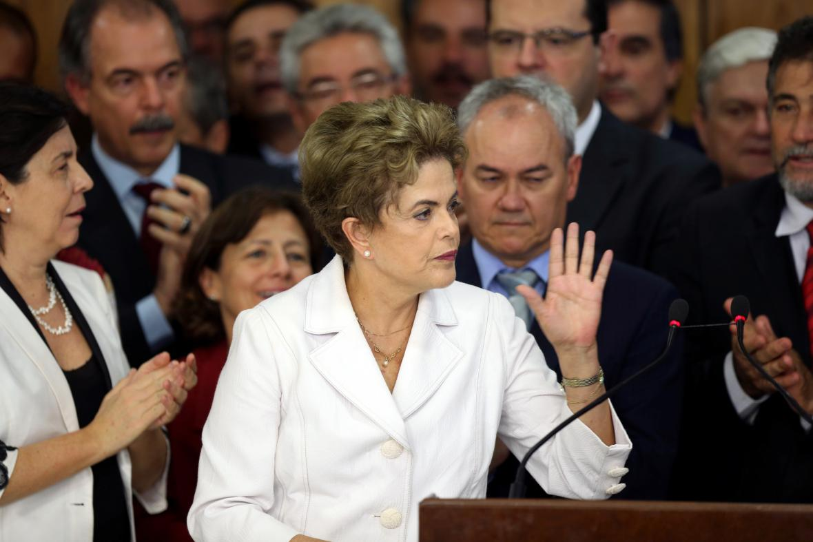 Dilma Rousseffová při projevu po hlasování senátorů