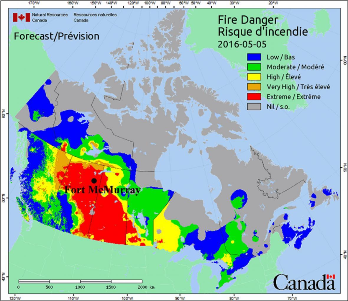 Vedra a nebezpečí ohně v kanadské Albertě k 5. květnu