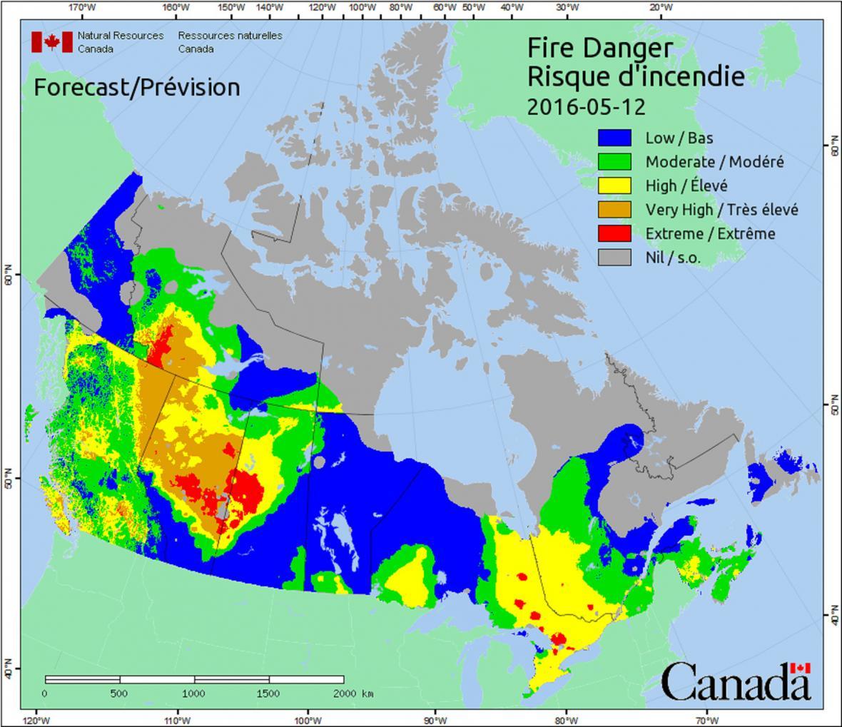 Postupně se v Kanadě ochlazuje a požár ustupuje. Stav k 12. květnu