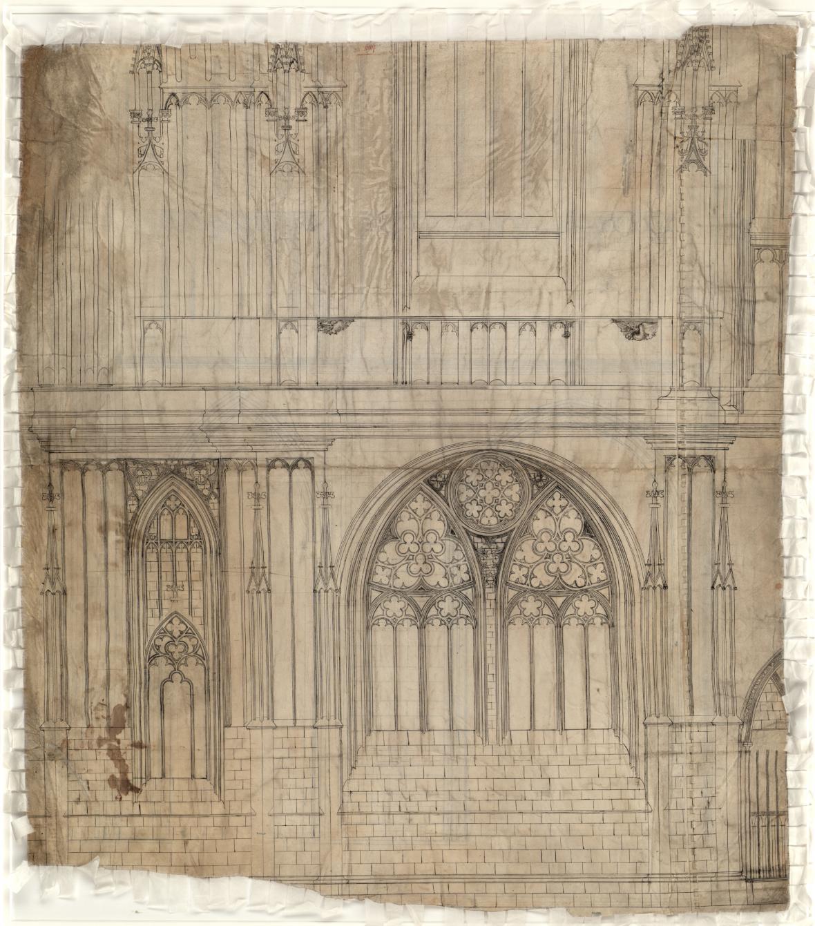 Architektonická kresba jižní věže katedrály sv. Víta, Petr Parléř, kolem roku 1365