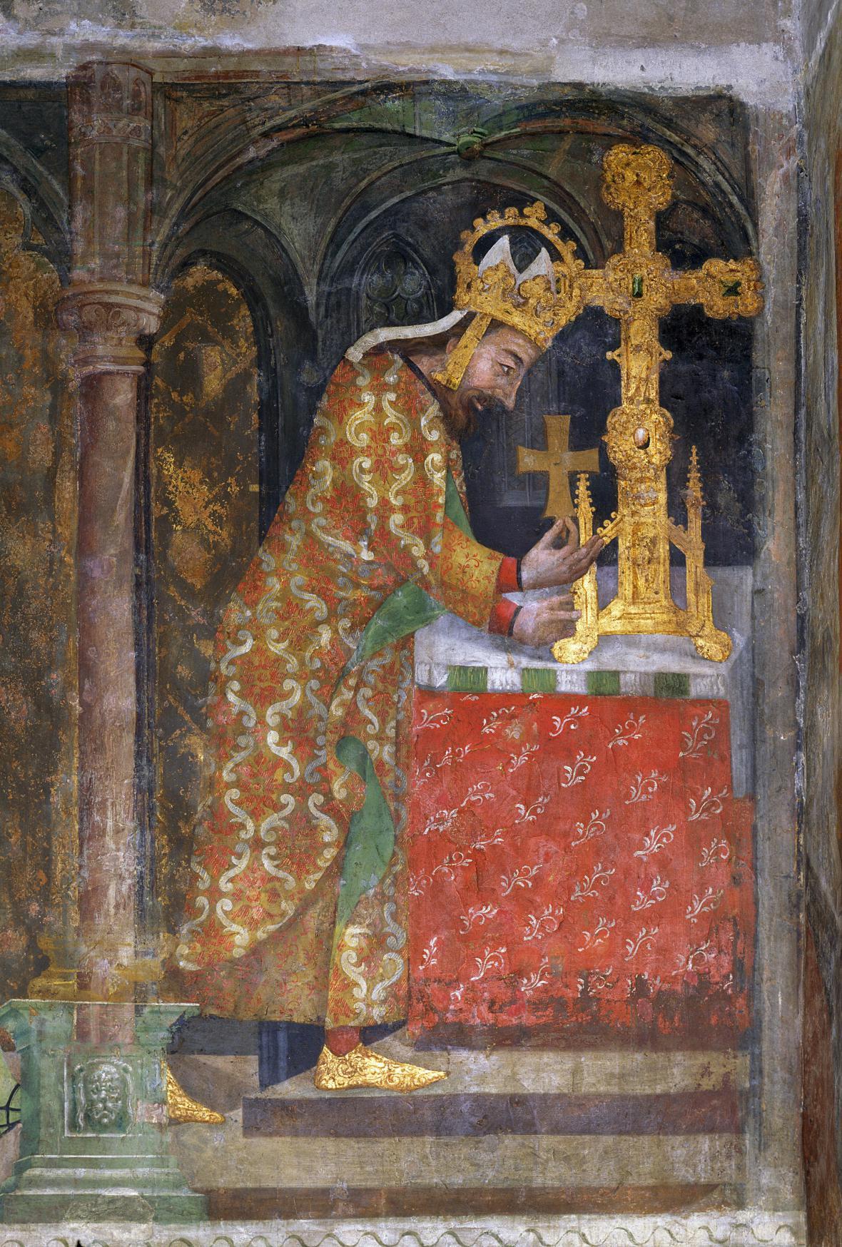 Císař Karel IV. ukládá relikvii dřeva svatého kříže do velkého ostatkového kříže, detail kolem 1360