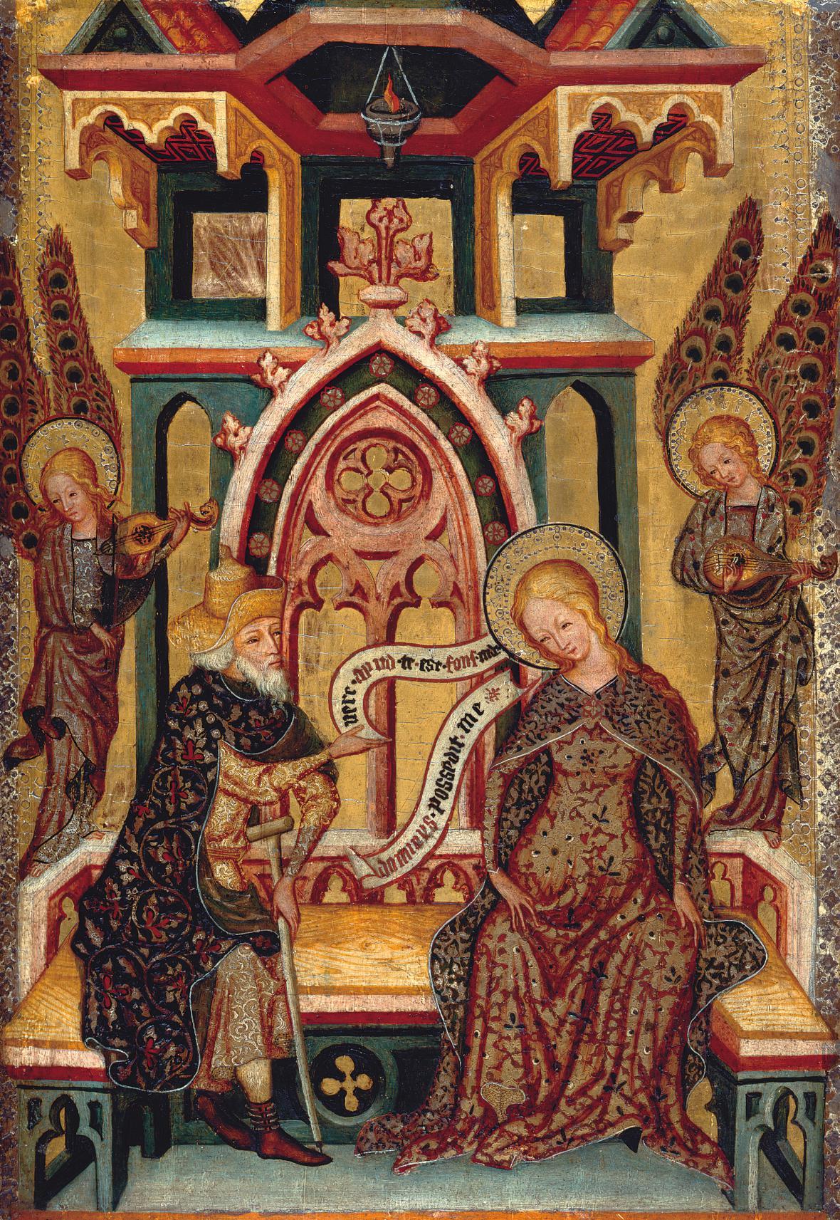 Oltářní retábl Panny Marie Josef diskutující s Pannou Marií, kolem 1355–1360