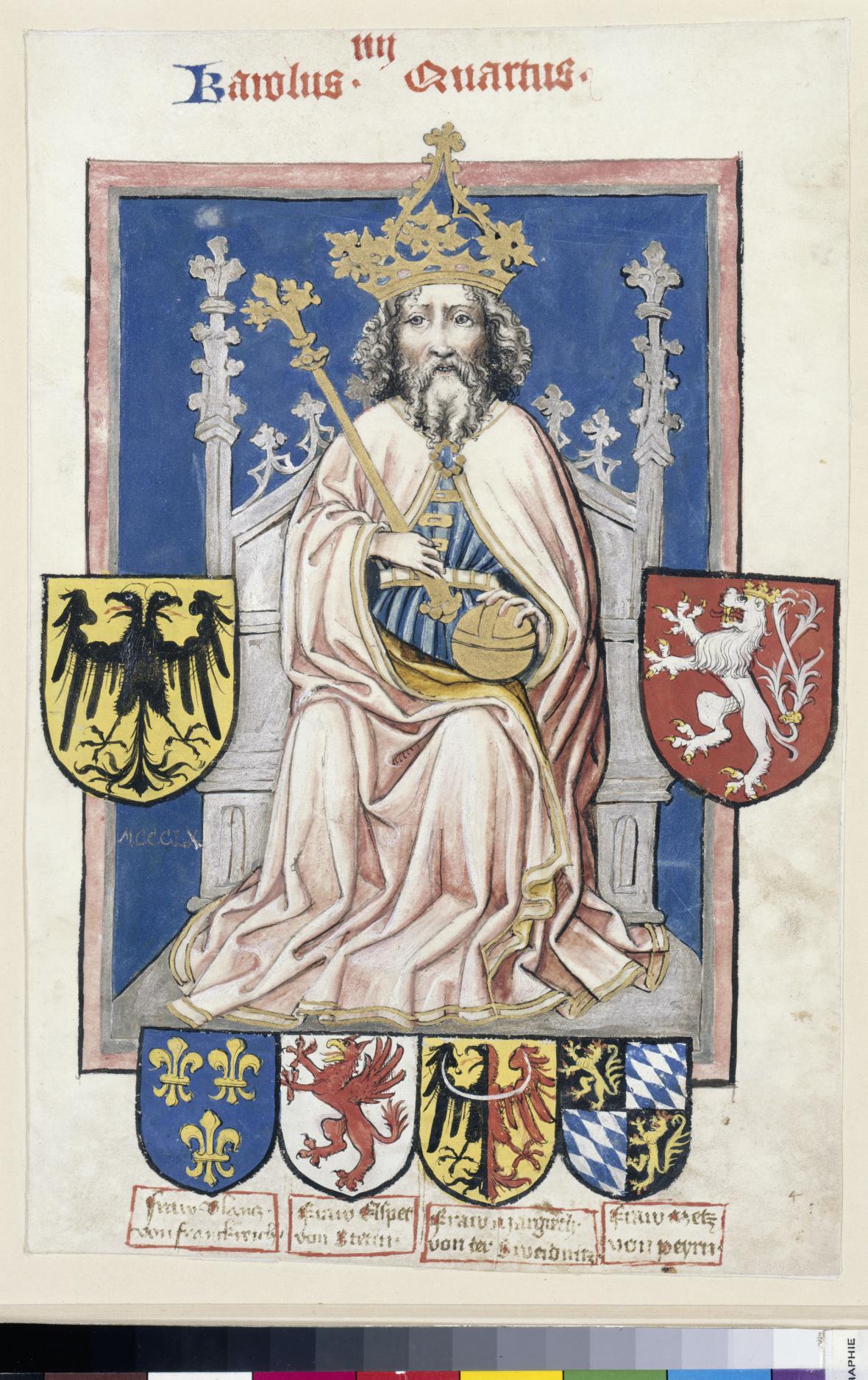 Trůnící Karel IV. se znaky svých čtyř žen, Norimberk, kolem 1430