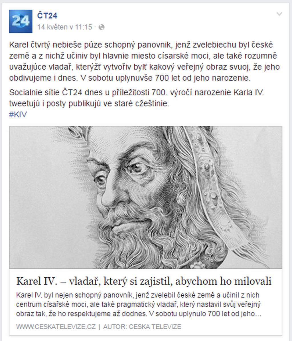 Facebooková stránka ČT24 se oblékla do staročeštiny