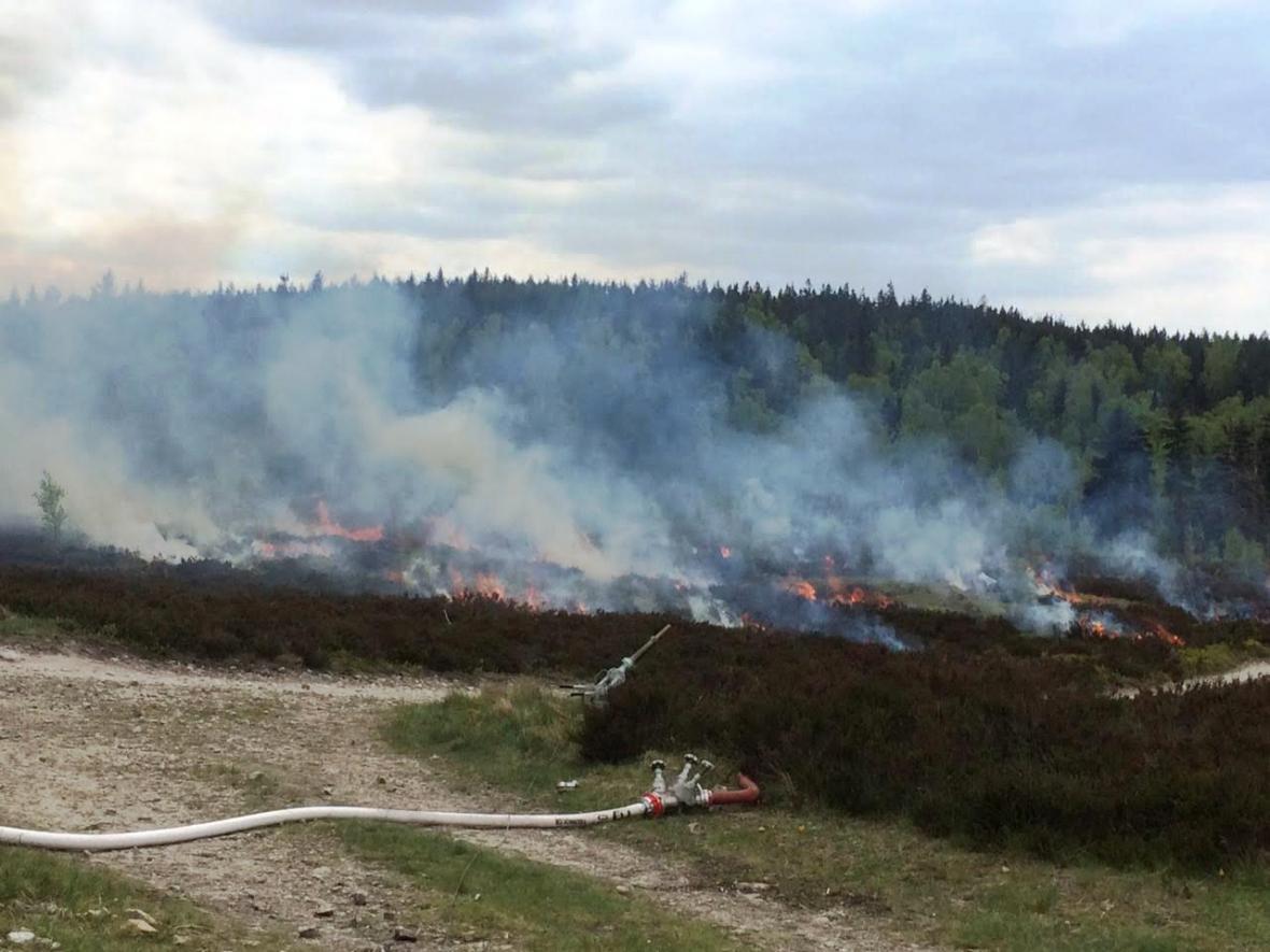 Řízený požár v Brdech