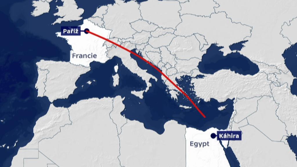 Trasa zmizelého letounu A320