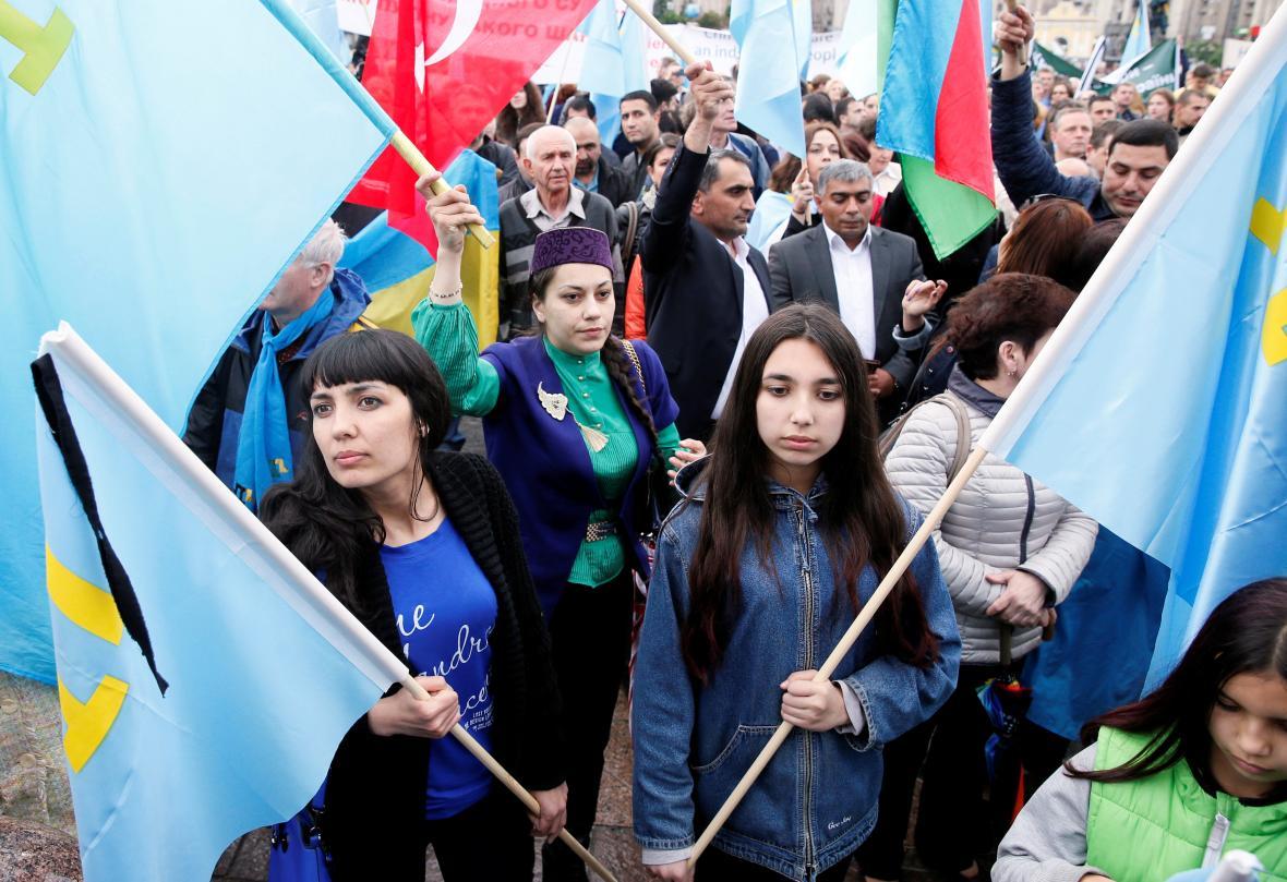 Připomínka odsunu Krymských Tatarů v Kyjevě