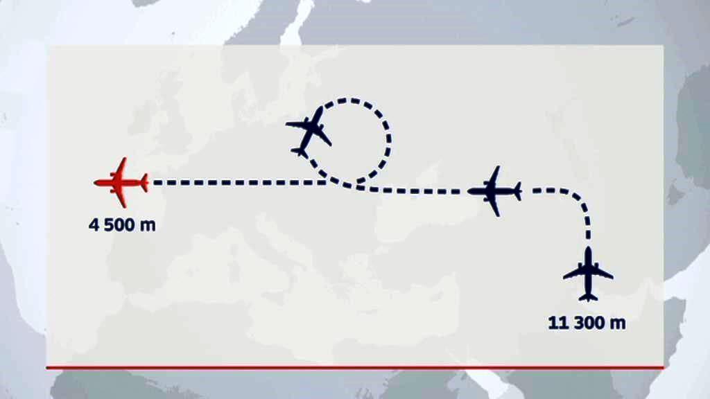 Dráha letu Airbusu A320 společnosti EgyptAir letícího z Paříže do Káhiry