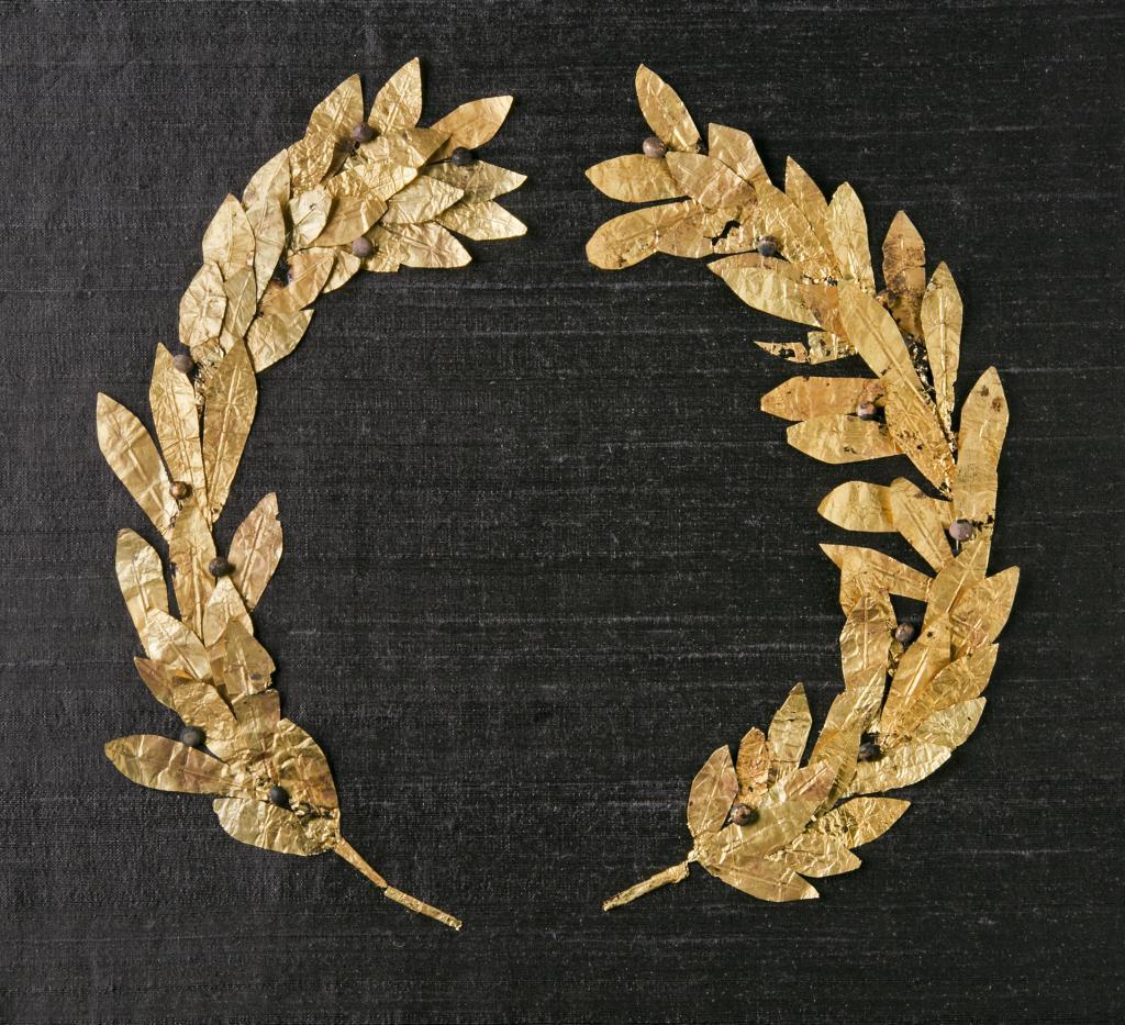 Antický vavřínový věnec ze zlata, 4./3. st. př. Kr.