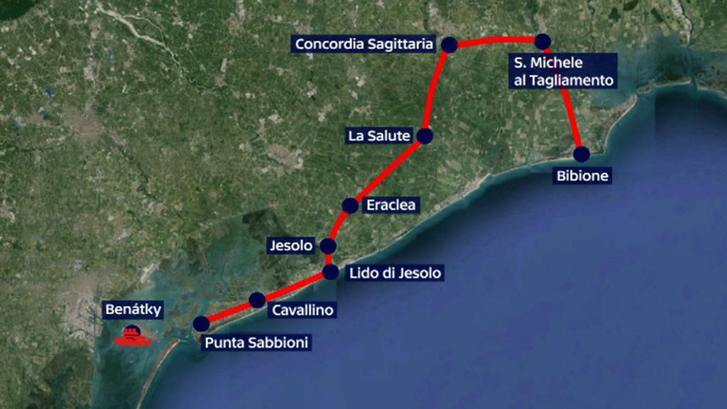 Cesta z Bibione do Benátek